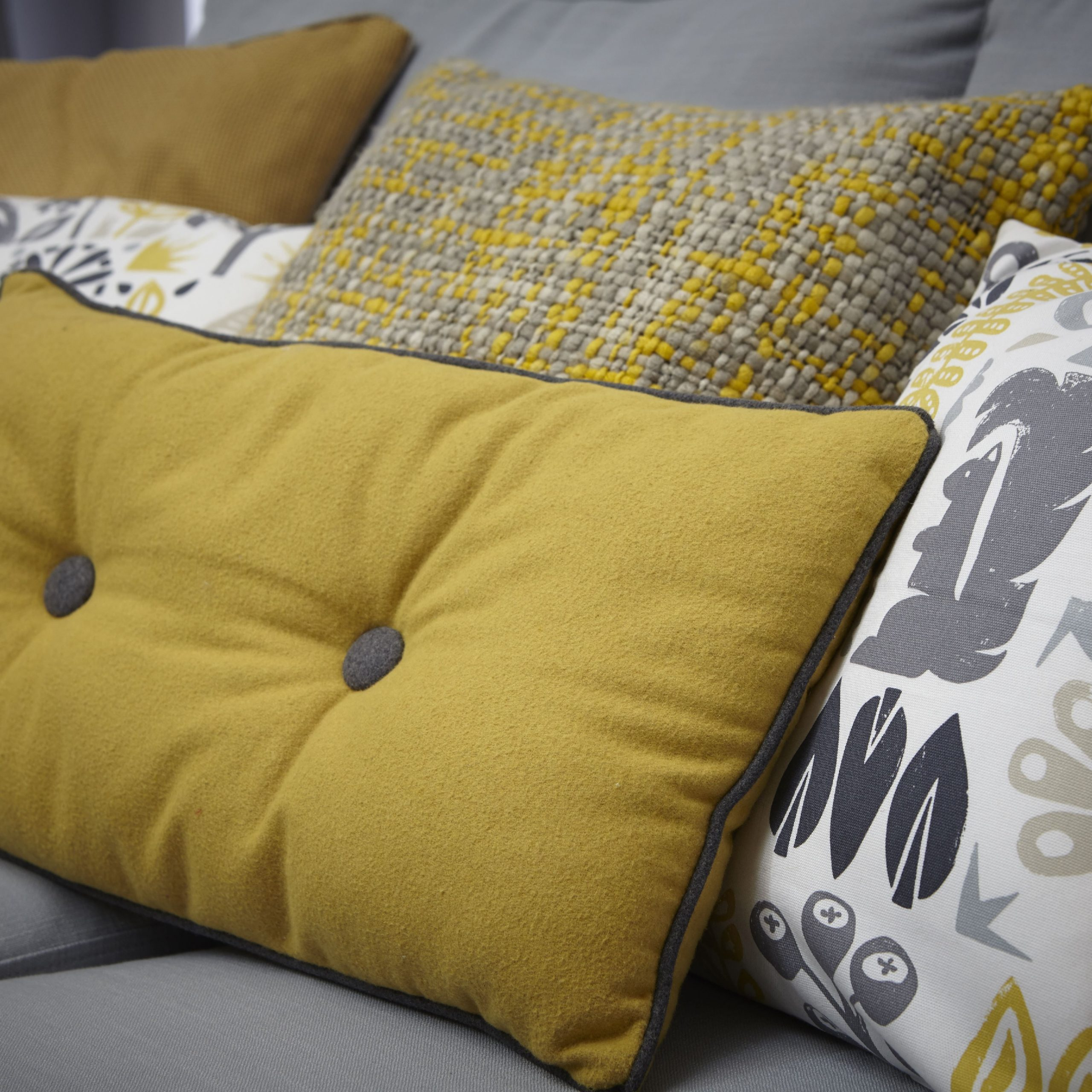 Living Room Grey, Cushions On Sofa With Regard To Favorite French Seamed Sectional Sofas Oblong Mustard (View 19 of 20)