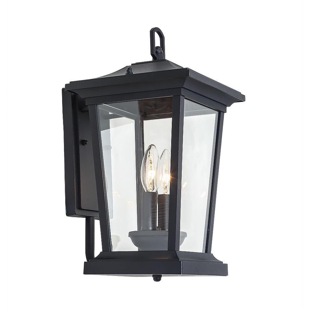 Lnc 2 Light Candle Style Black Outdoor Wall Mount Lantern In Popular Payeur Hammered Glass Outdoor Wall Lanterns (View 20 of 20)