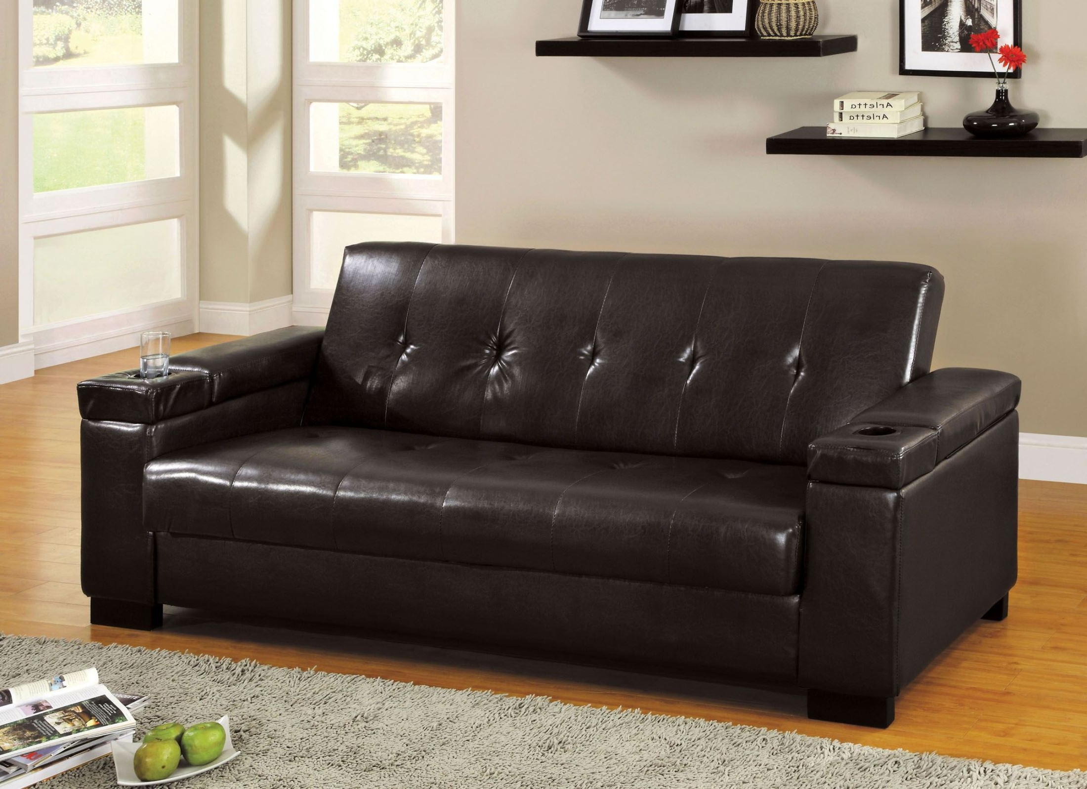 Logan Leatherette Futon Storage Sofa From Furniture Of Throughout Newest Hartford Storage Sectional Futon Sofas (View 3 of 20)