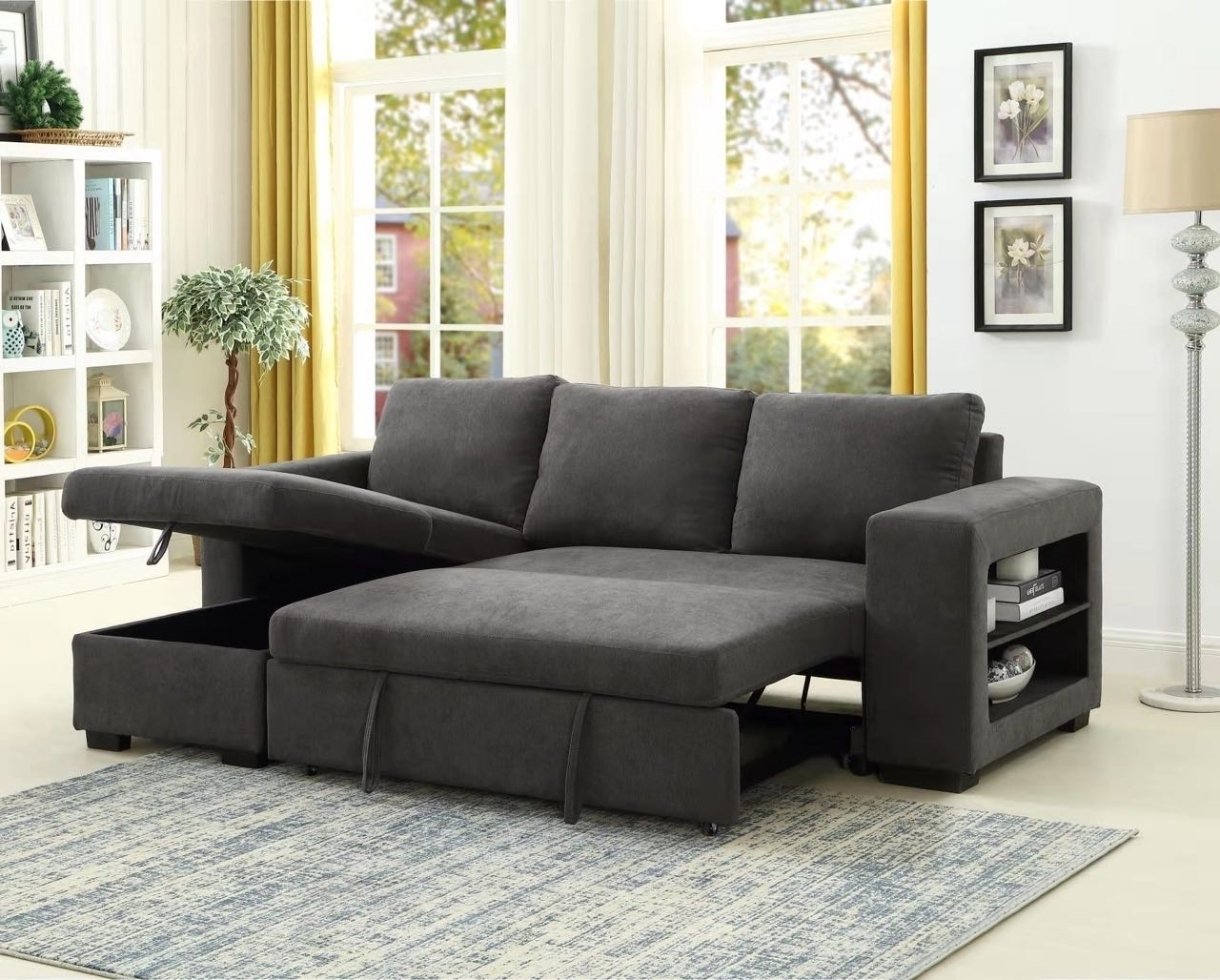 Lucena Reversible Sectional Sofa/sofa Bed With Storage Throughout Well Known Hartford Storage Sectional Futon Sofas (View 10 of 20)