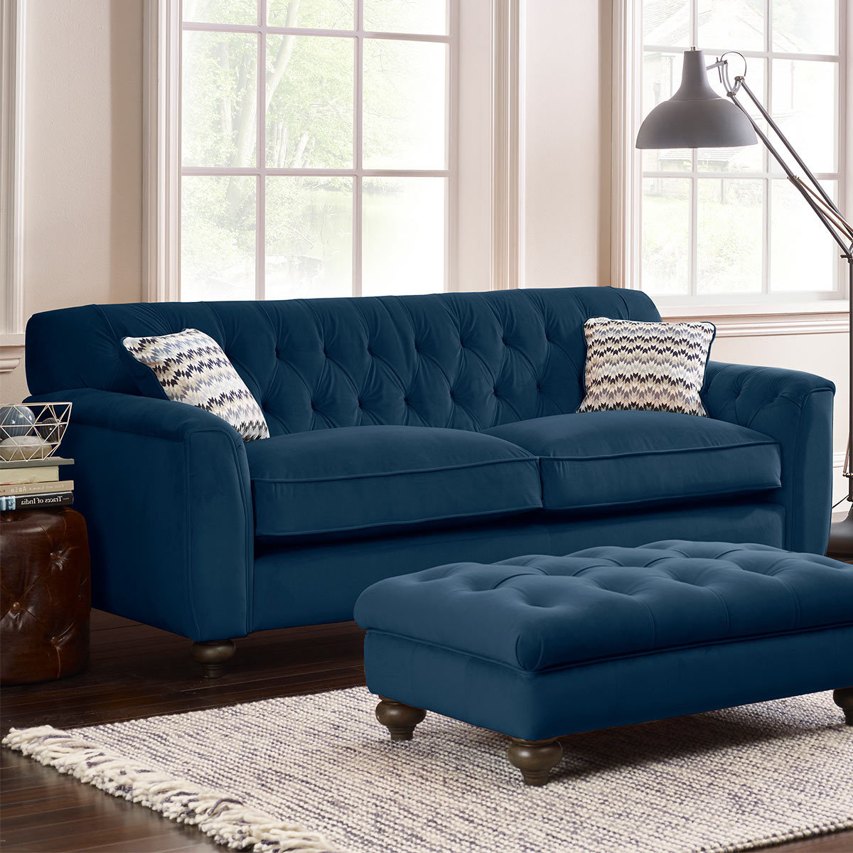Lyvia Pillowback Sofa Sectional Sofas Regarding Well Liked Avante Button Back 4 Seater Velvet Sofa With 2 Accent (View 3 of 20)