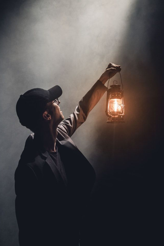 Man Holding Lighted Gas Lantern (View 12 of 20)