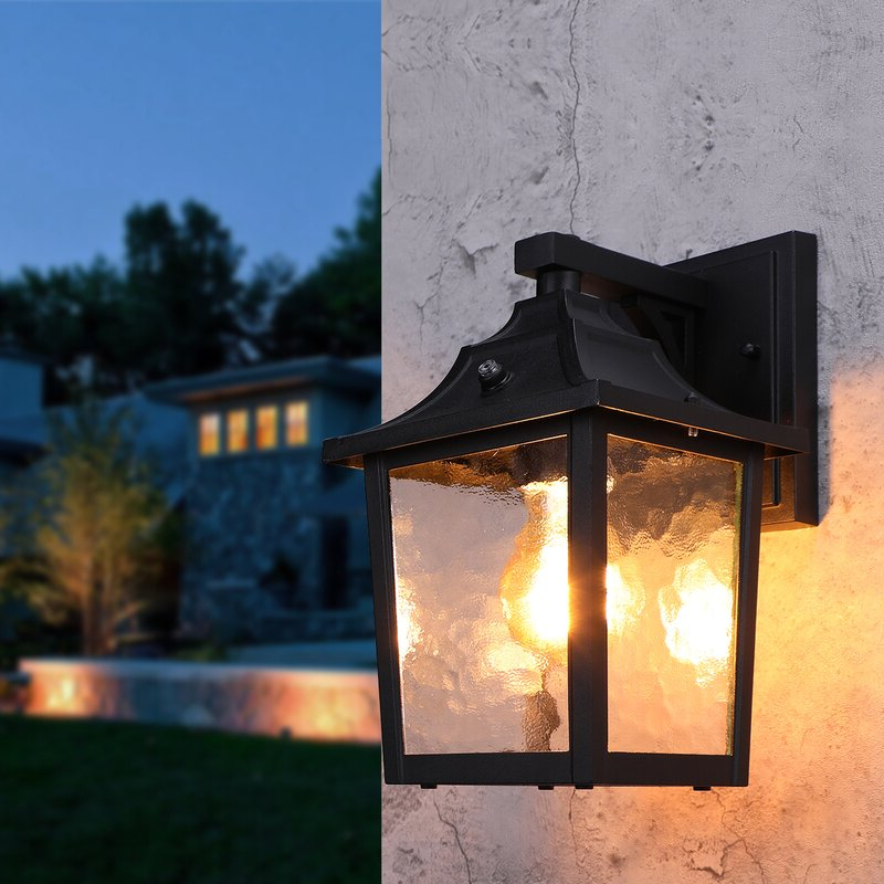 """Manteno Black Outdoor Wall Lanterns With Dusk To Dawn Throughout Popular Alcott Hill® Billups Black 1 – Bulb 6"""" H Outdoor Wall (View 20 of 20)"""
