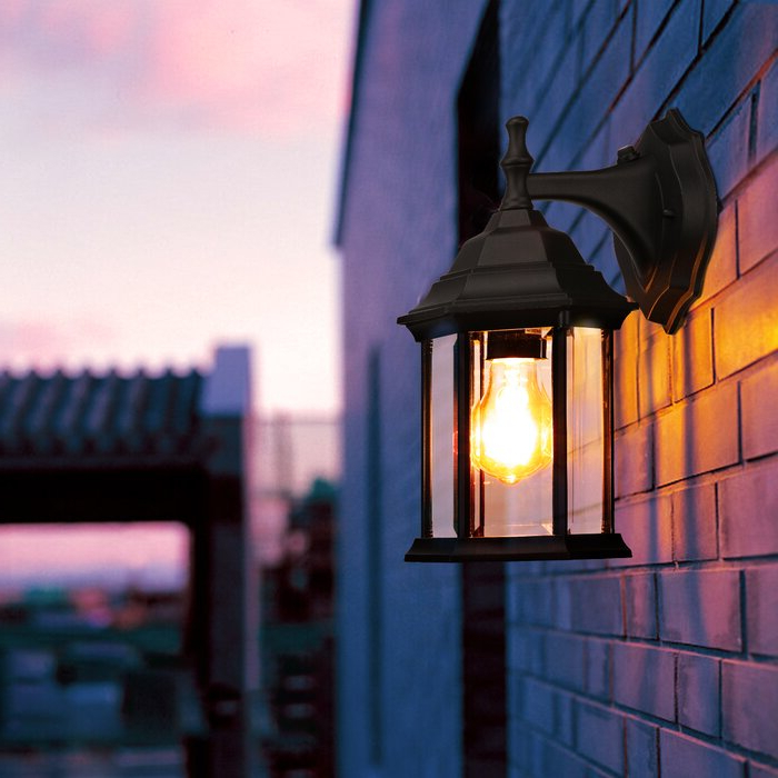 Manteno Black Outdoor Wall Lanterns With Dusk To Dawn Within Most Recently Released Alcott Hill® Bilski Black  (View 14 of 20)