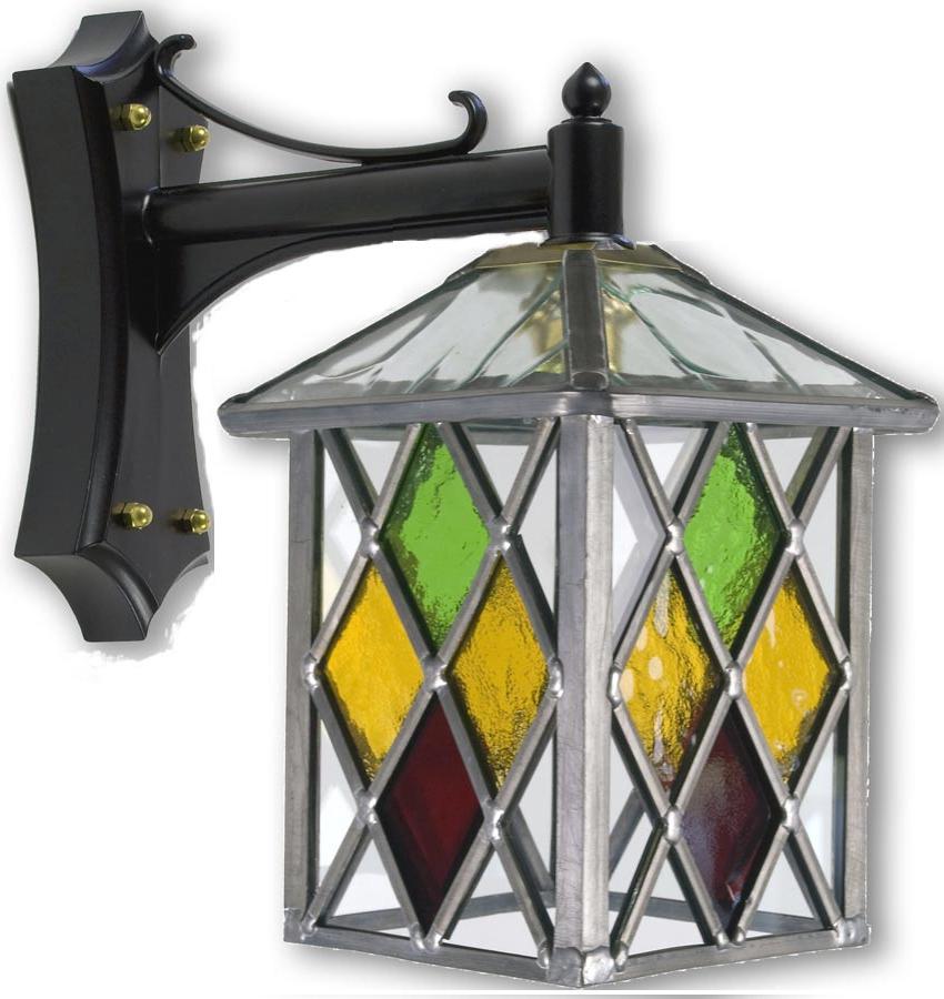 Matlock Multi Coloured Diamond Leaded Glass Outdoor Wall With 2019 Bayou Beveled Glass Outdoor Wall Lanterns (View 10 of 20)