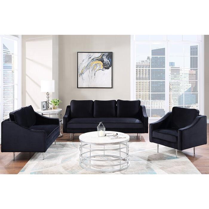 Mercer41 Mid Century Velvet 3 Piece Living Room Sofa Set Regarding Widely Used 3pc French Seamed Sectional Sofas Velvet Black (View 6 of 20)