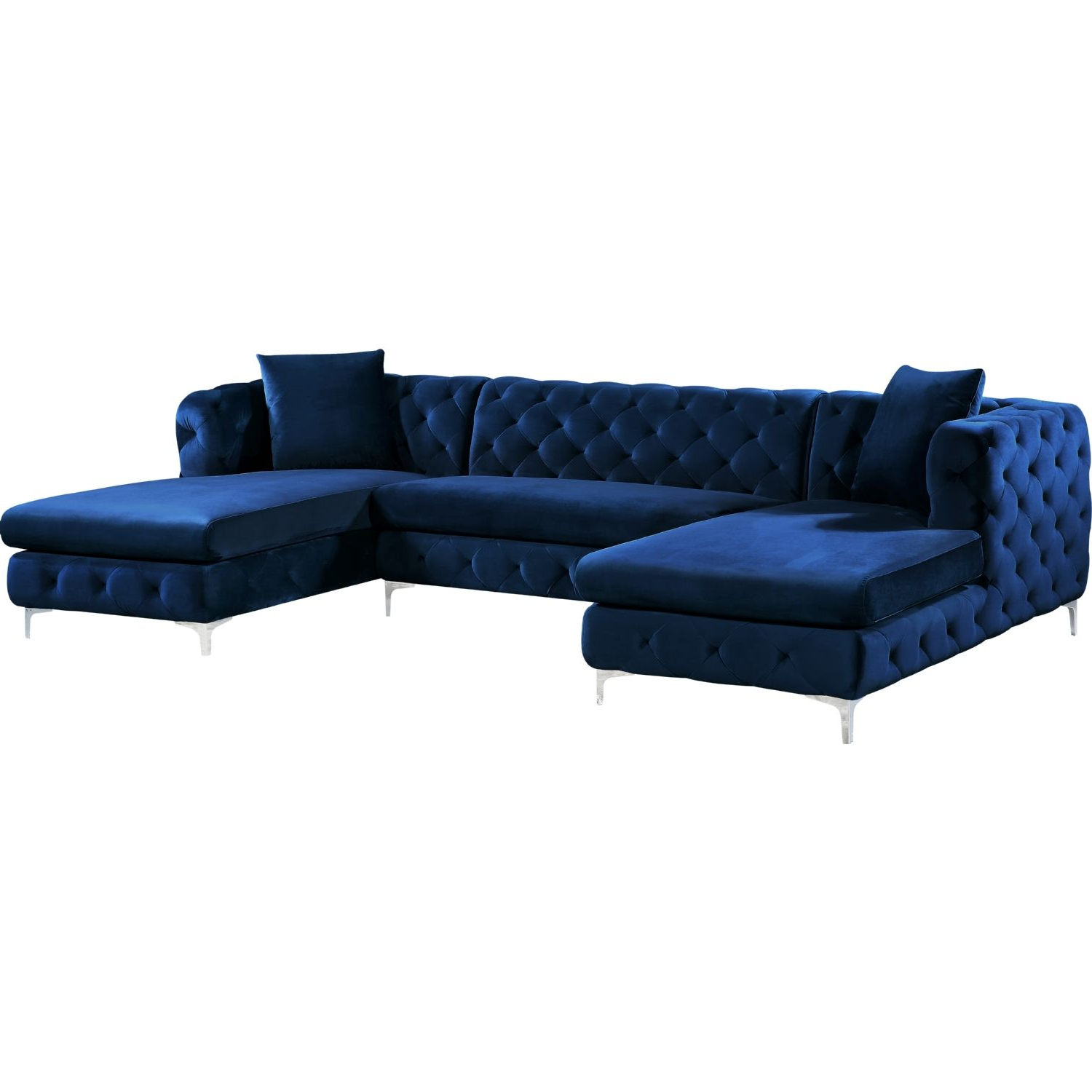 Meridian Furniture 664navy Sectional Gail 3 Piece Double For Most Recent 3pc Miles Leather Sectional Sofas With Chaise (View 19 of 20)