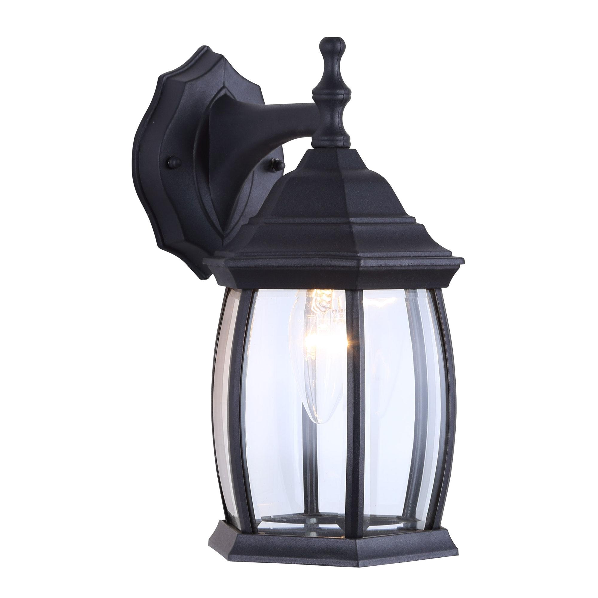 Merild Textured Black Wall Lanterns Pertaining To Latest One Light Outdoor Exterior Lantern Light Fixture Wall (View 7 of 20)
