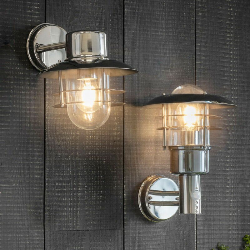 Meunier Glass Outdoor Wall Lanterns Inside 2018 Ip44 Outdoor Wall Lamp Stainless Steel Caged Glass Pir (View 12 of 20)
