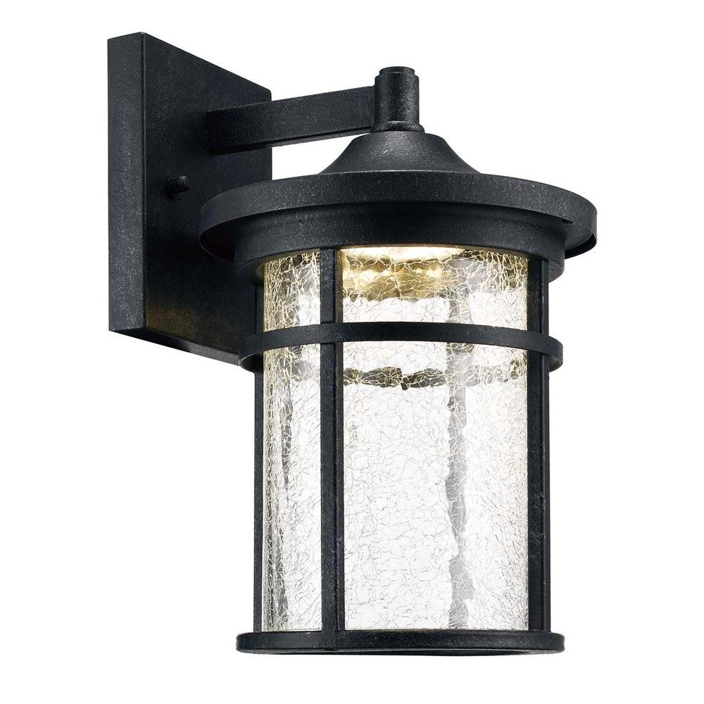 Meunier Glass Outdoor Wall Lanterns Regarding Most Popular Home Decorators Collection Aged Iron Outdoor Led Wall (View 14 of 20)