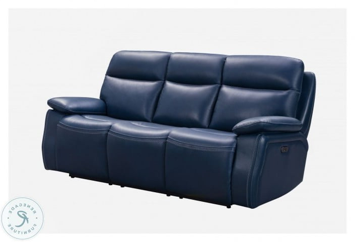 Micah Marco Navy Blue Leather Match Power Reclining Sofa Intended For Widely Used Marco Leather Power Reclining Sofas (View 1 of 20)