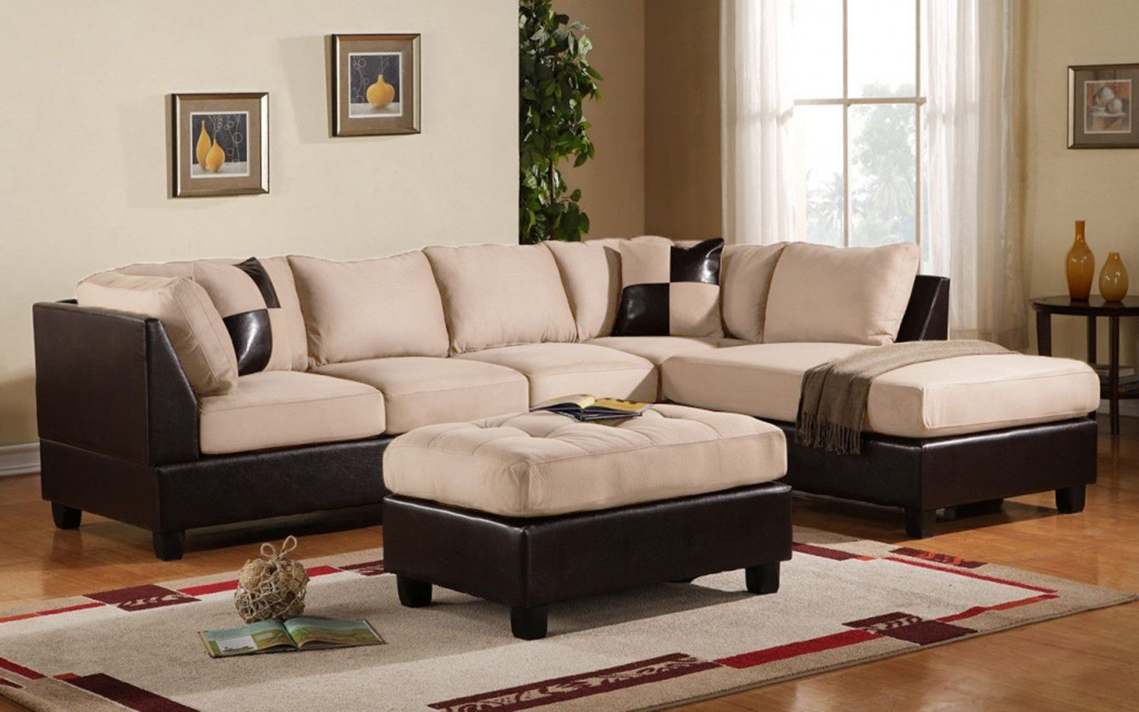 Microfiber Throughout 3pc Bonded Leather Upholstered Wooden Sectional Sofas Brown (View 1 of 20)