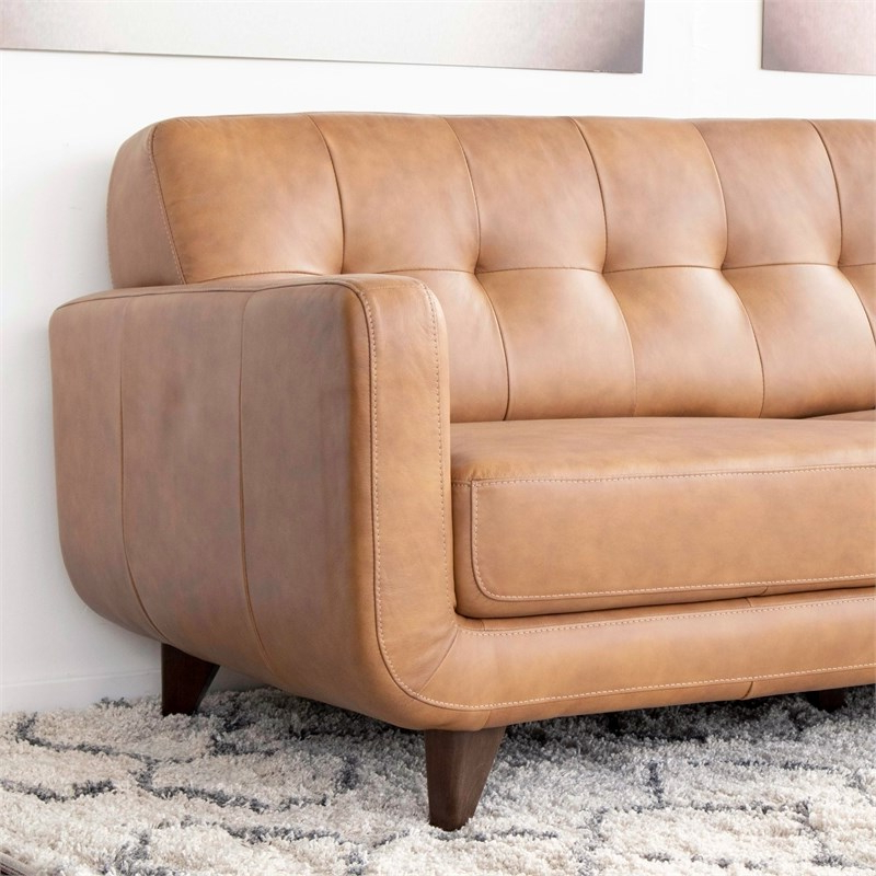 Mid Century Modern Davis Tan Genuine Leather Sectional Intended For Best And Newest Alani Mid Century Modern Sectional Sofas With Chaise (View 7 of 20)