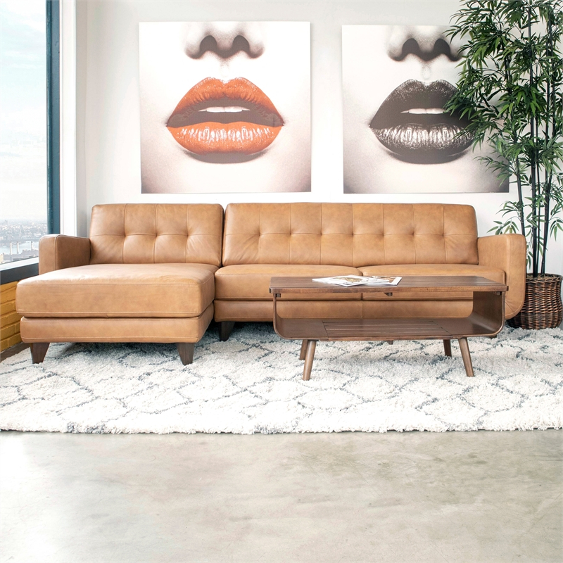 Mid Century Modern Davis Tan Genuine Leather Sectional With Regard To Latest Alani Mid Century Modern Sectional Sofas With Chaise (View 2 of 20)