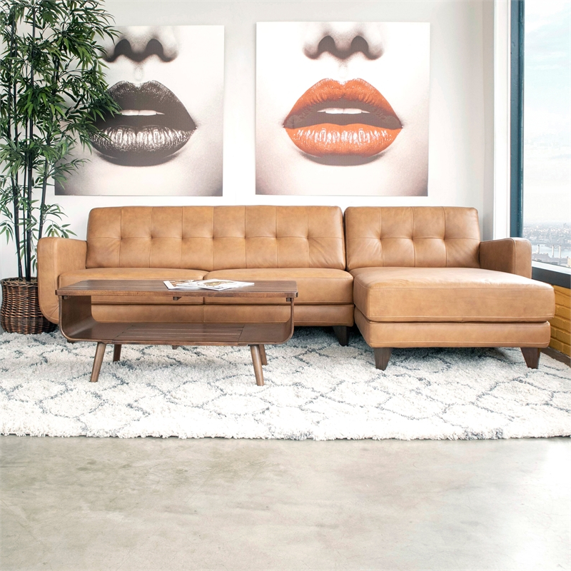 Mid Century Modern Davis Tan Genuine Leather Sectional Within Latest Alani Mid Century Modern Sectional Sofas With Chaise (View 9 of 20)