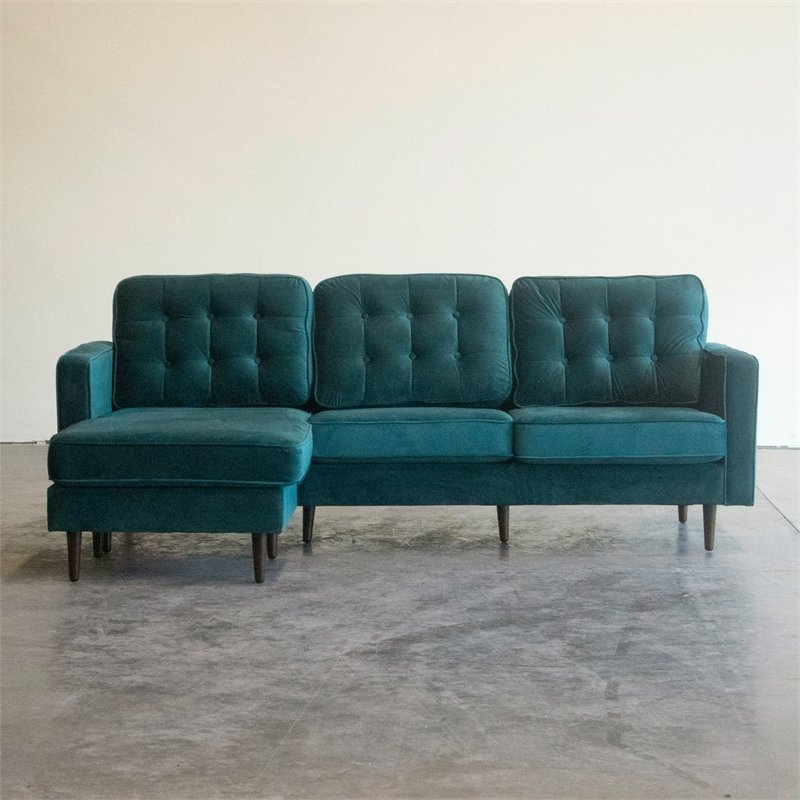 Mid Century Modern Kayle Teal Velvet Reversible Sectional Throughout Latest Verona Mid Century Reversible Sectional Sofas (View 9 of 20)