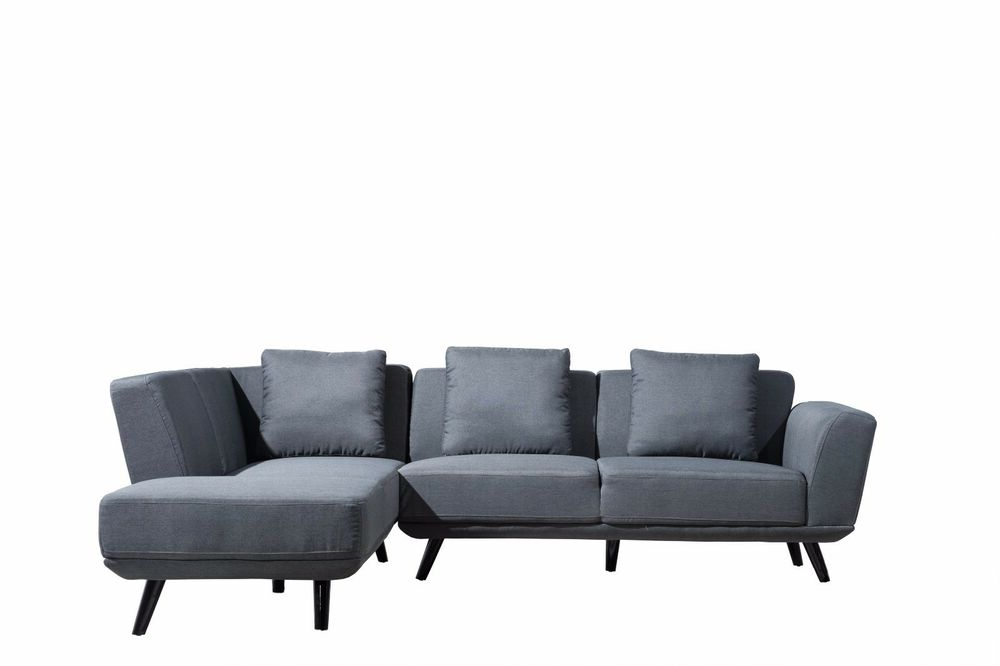 Mid Century Modern Linen Large Sectional Sofa In Dark Grey With Regard To 2018 Dulce Mid Century Chaise Sofas Light Gray (View 5 of 20)