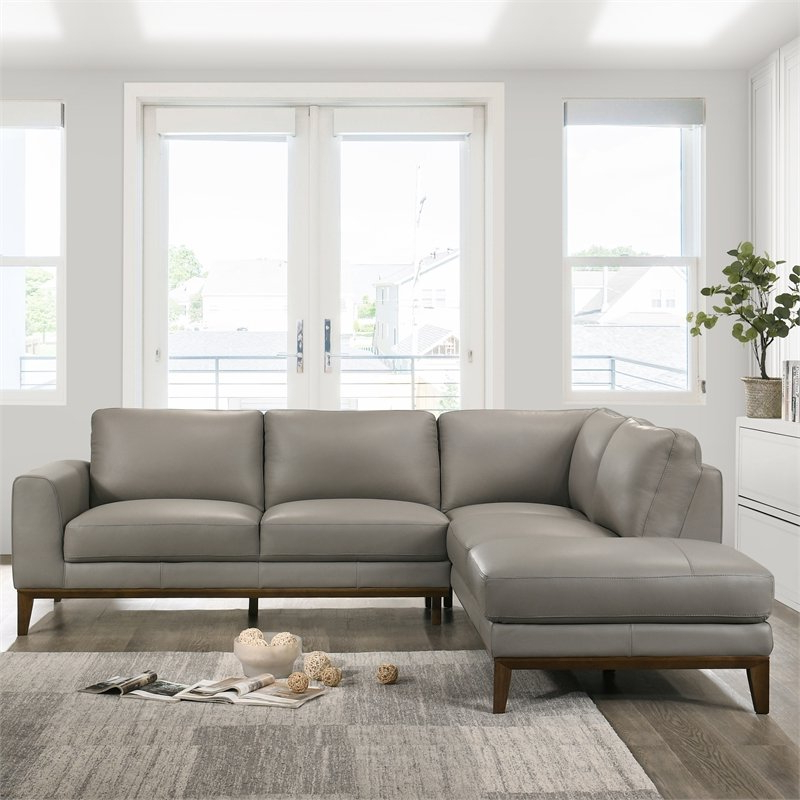 Mid Century Modern Milton Gray Leather Sectional Sofa In Well Liked Florence Mid Century Modern Left Sectional Sofas (View 11 of 20)