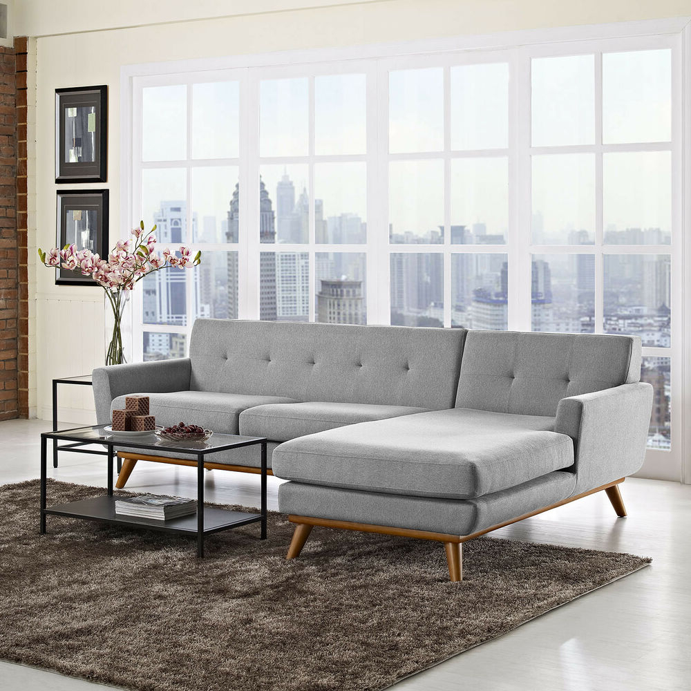 Mid Century Modern Upholstered Left Facing Sectional Sofa Intended For Current Florence Mid Century Modern Left Sectional Sofas (View 1 of 20)