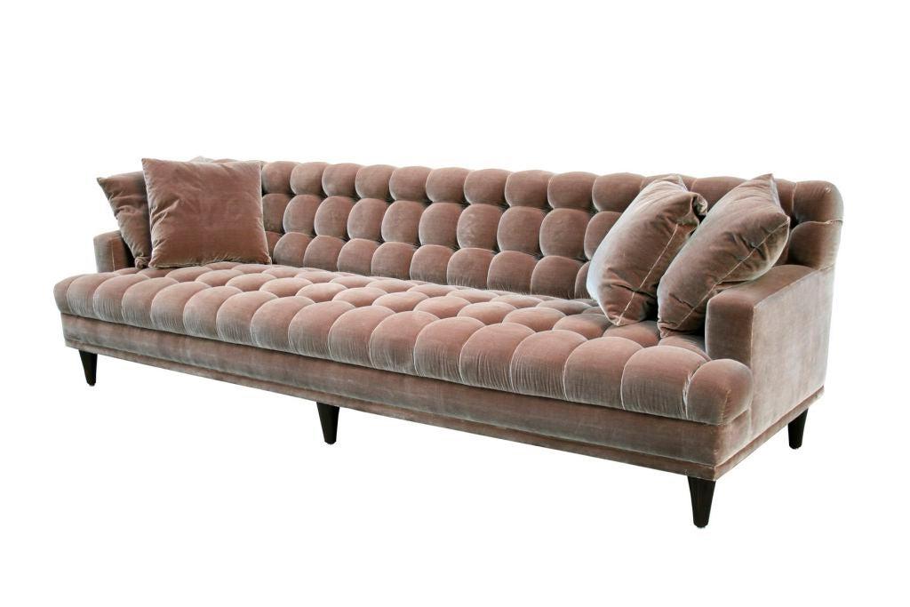 Mid Century Tufted Velvet Sofa At 1stdibs Intended For Fashionable Florence Mid Century Modern Velvet Right Sectional Sofas (View 15 of 20)