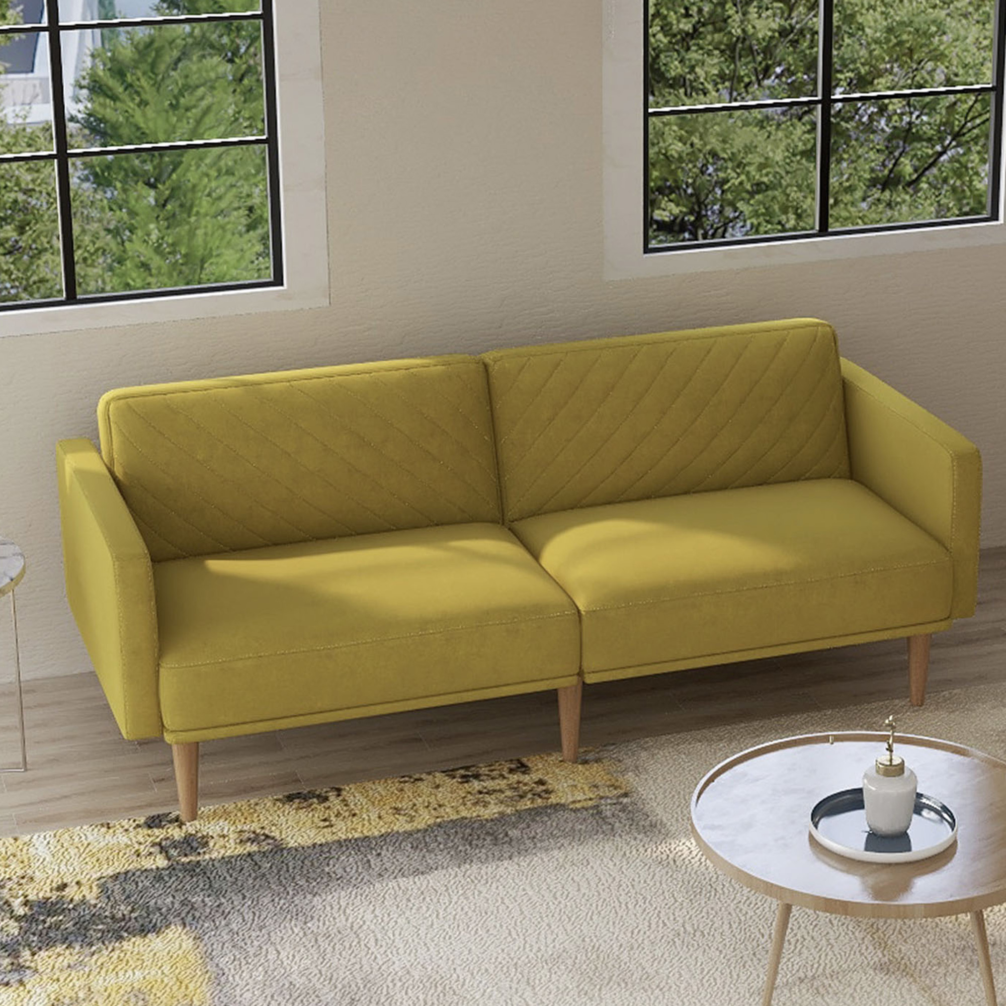Mireille Modern And Contemporary Fabric Upholstered Sectional Sofas Inside Best And Newest Velvet Fabric Sofa Beds, Urhomepro Mid Century Modern (View 5 of 20)