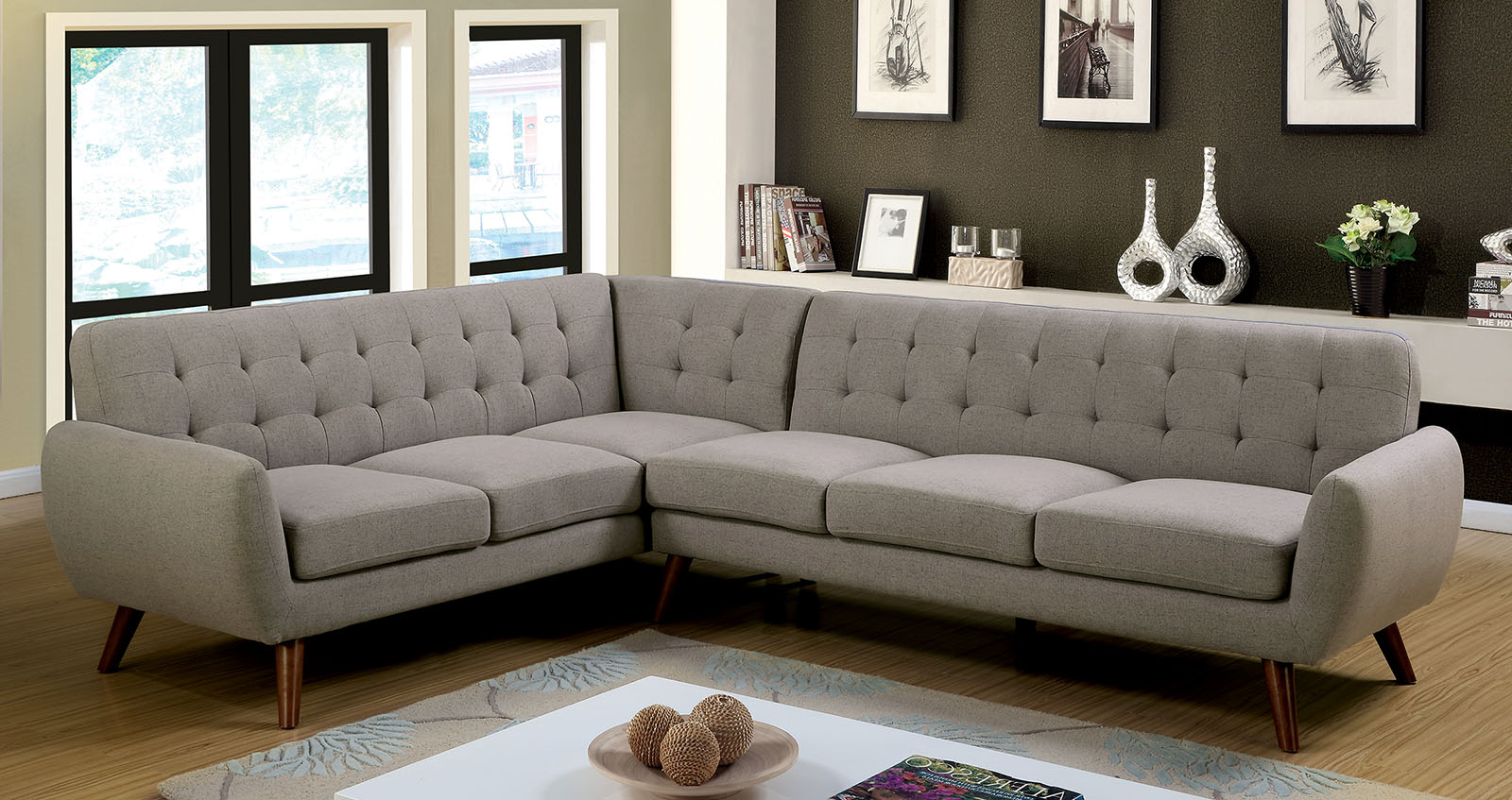 Mireille Modern And Contemporary Fabric Upholstered Sectional Sofas Pertaining To Newest Furniture Of America 6144 Gray Mid Century Modern (View 12 of 20)