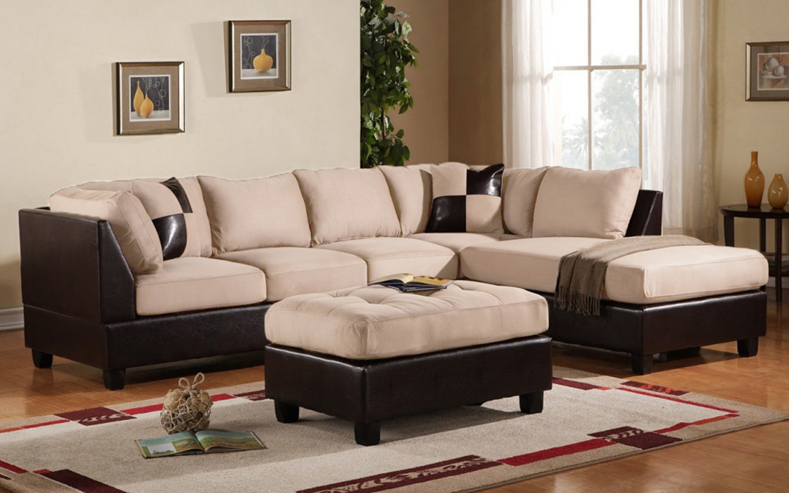 Mobilis 3 Pc Modern Soft Reversible Microfiber And Faux Regarding Current 3pc Faux Leather Sectional Sofas Brown (View 10 of 20)