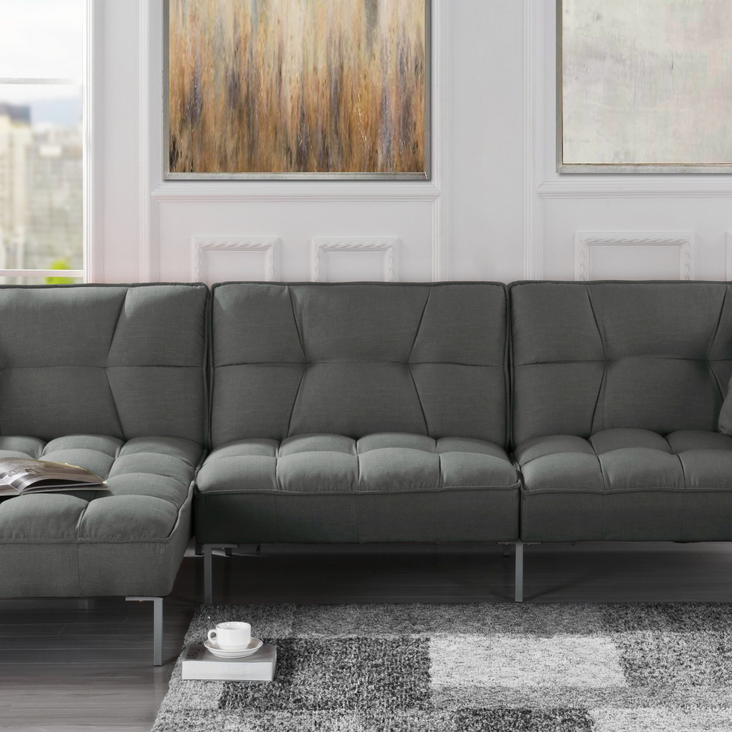 Mobilis Modern Square Tufted Linen Fabric Sectional Sofa Pertaining To Preferred Polyfiber Linen Fabric Sectional Sofas Dark Gray (View 2 of 20)