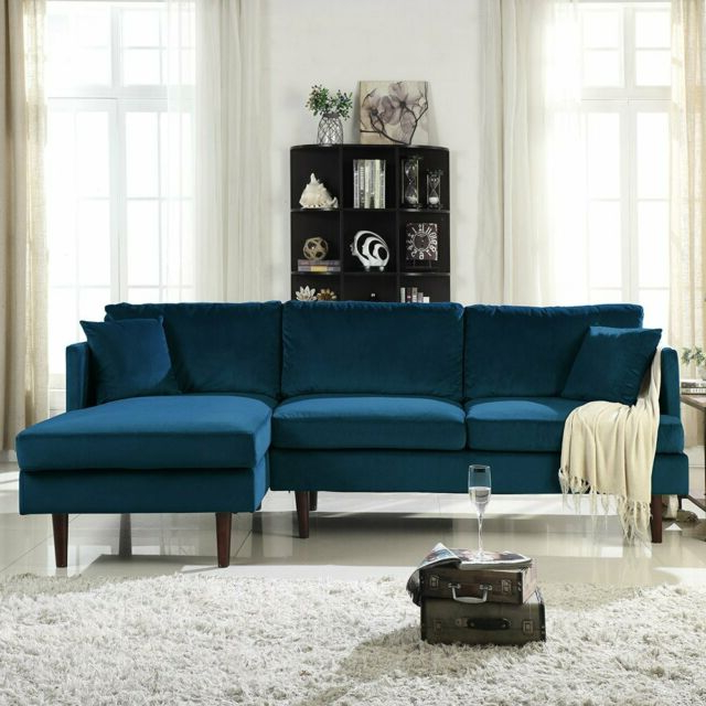 Modern Brush Microfiber Sectional Sofa, L Shape Couch W With Current Dulce Mid Century Chaise Sofas Dark Blue (View 2 of 20)