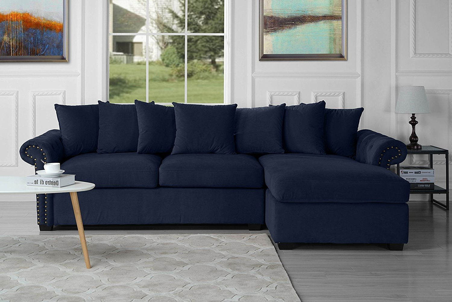 Modern Large Tufted Velvet Sectional Sofa, Scroll Arm L Throughout Most Recent Dream Navy 2 Piece Modular Sofas (View 9 of 20)