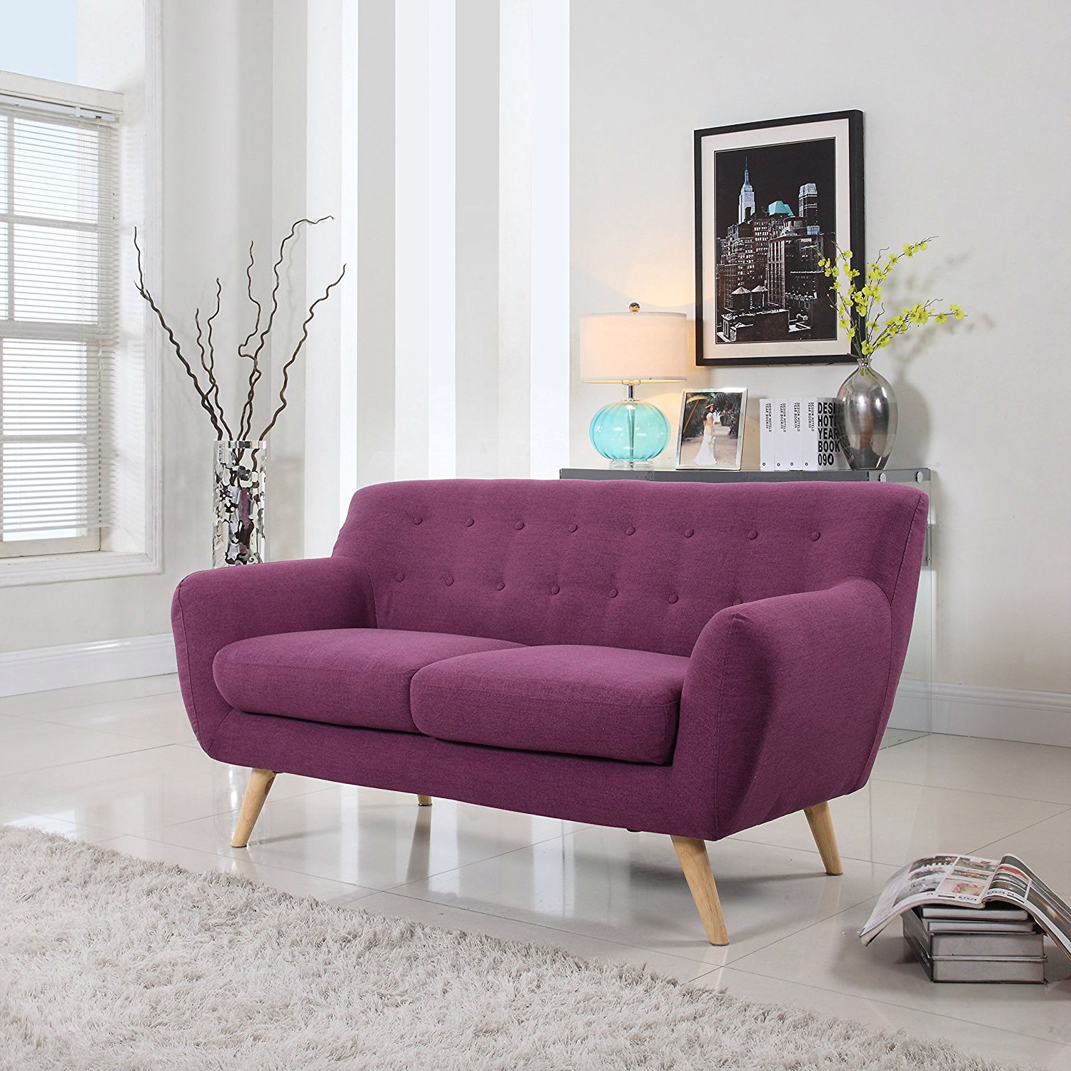 Modern Purple Linen Fabric Upholstered Mid Century Style Regarding Popular Mireille Modern And Contemporary Fabric Upholstered Sectional Sofas (View 9 of 20)