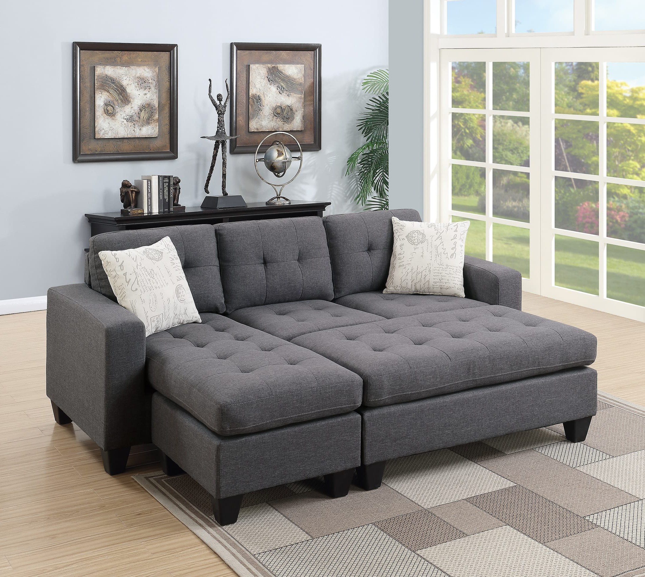 Molnar Upholstered Sectional Sofas Blue/gray Within Preferred F6920 Blue Gray Sectional Sofa Setpoundex (View 4 of 20)