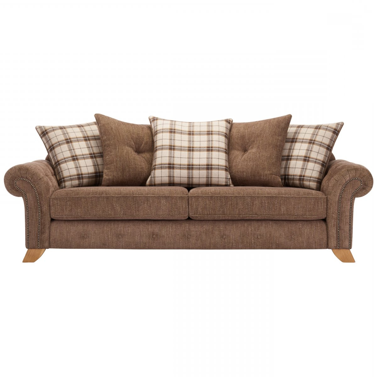 Montana Sofas Regarding Best And Newest Montana 4 Seater Sofa With Pillow Back In Brown Fabric (View 9 of 20)