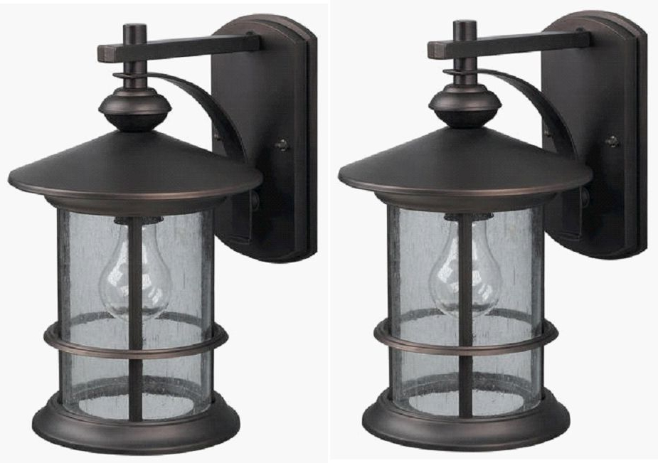 Most Current 2 Pack Oil Rubbed Bronze Outdoor Wall Mount Lantern Lights Pertaining To Robertson 2 – Bulb Seeded Glass Outdoor Wall Lanterns (View 14 of 20)