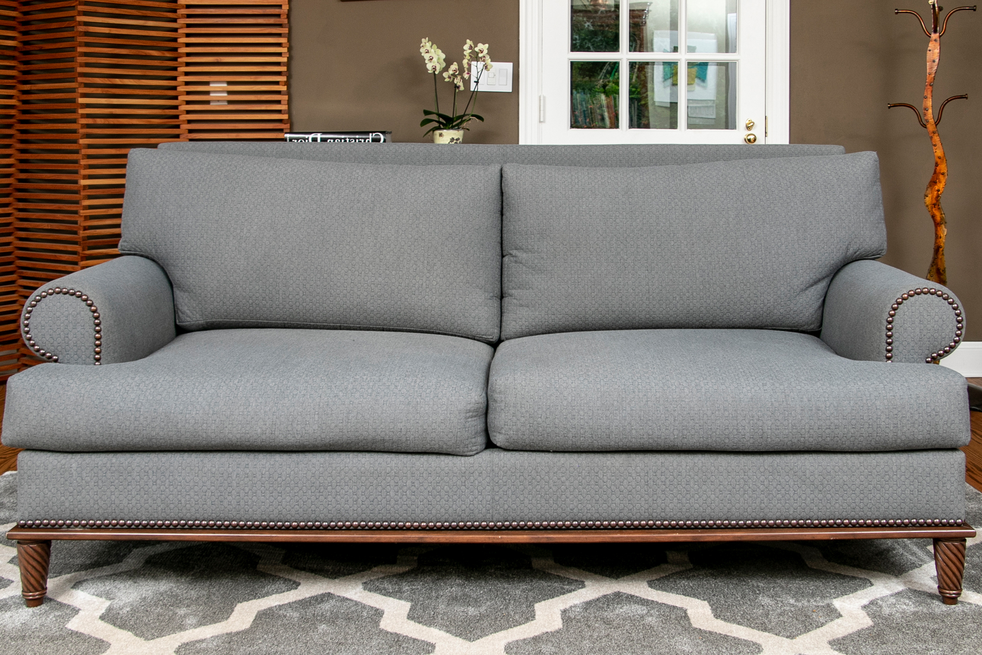 Most Current 2pc Polyfiber Sectional Sofas With Nailhead Trims Gray Inside Beautiful Custom Grey Upholstered Rolled Armed Sofa With (View 5 of 20)