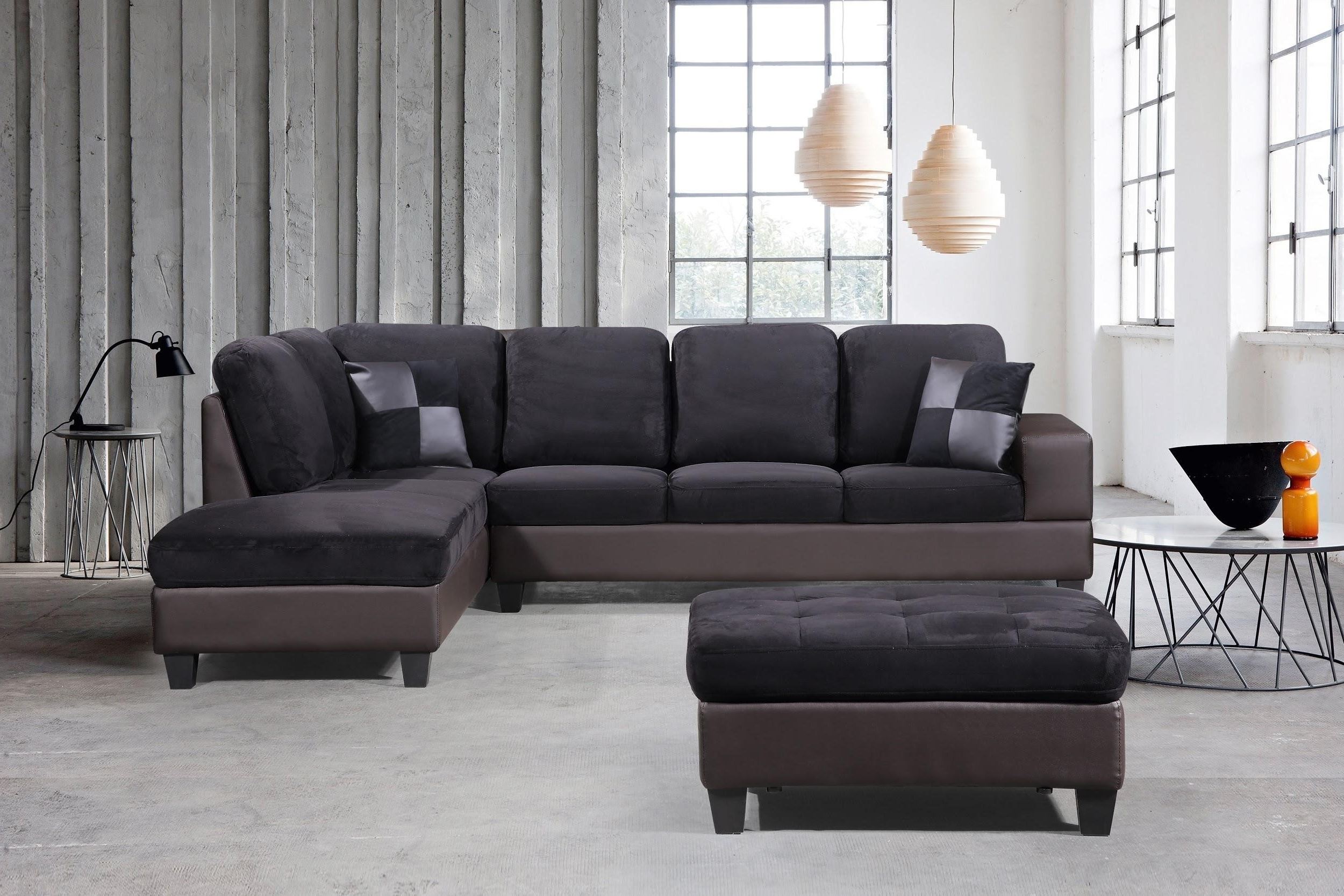 Most Current 3 Piece Modern Right Microfiber / Faux Leather Sectional With Regard To 3pc Polyfiber Sectional Sofas (View 11 of 20)