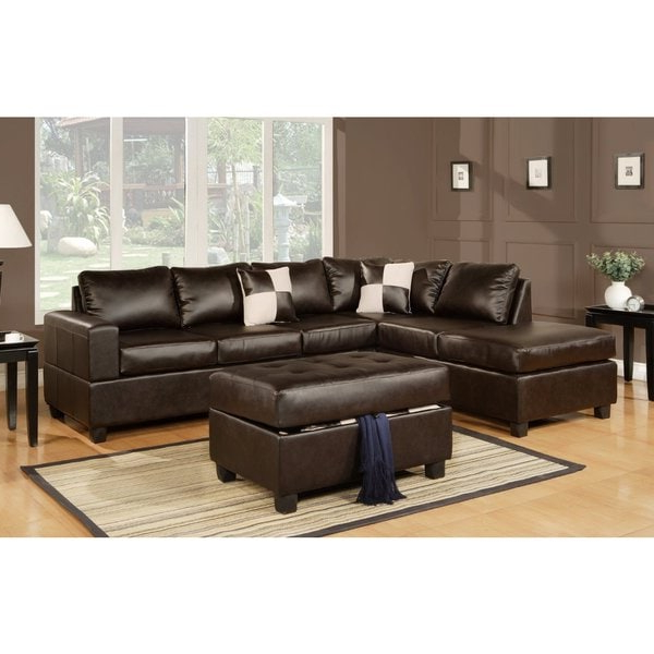 Most Current 3pc Faux Leather Sectional Sofas Brown With Regard To 3 Piece Modern Brown Bonded Leather Reversible Sectional (View 8 of 20)