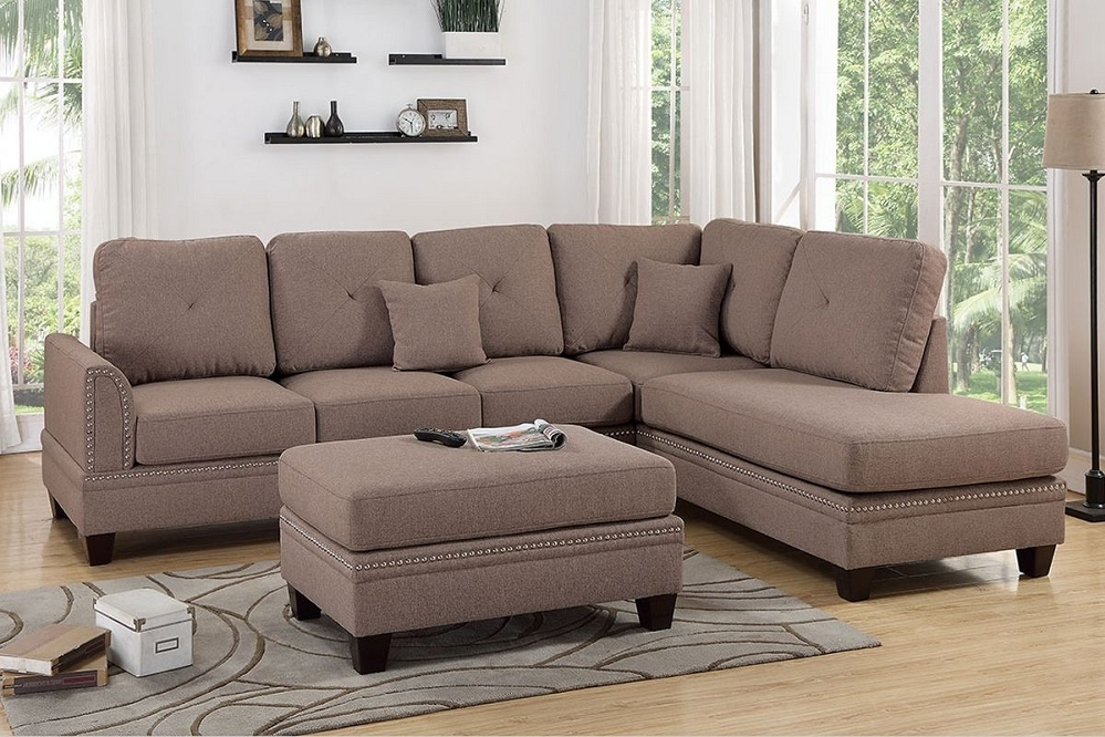 Most Current Bonded Leather All In One Sectional Sofas With Ottoman And 2 Pillows Brown With Coffee Polyfiber Reversible Chaise Sectional Sofa + Ottoman (View 1 of 20)