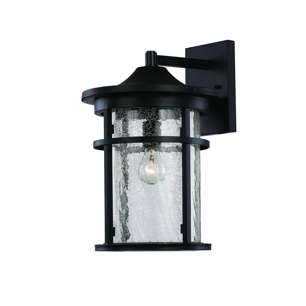 Most Current Borde Black Outdoor Wall Lanterns Throughout Bel Air Lighting 1 Light Black Outdoor Crackled Outdoor (View 8 of 20)