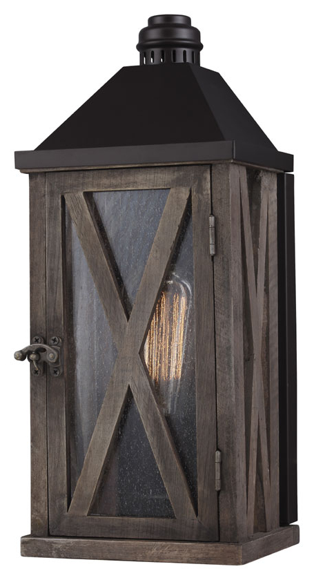 Most Current Brierly Oil Rubbed Bronze/black Outdoor Wall Lanterns For Feiss Ol17000dwo Orb Lumiere' Rustic Dark Weathered Oak (View 18 of 20)