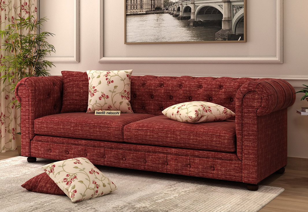 Most Current Buy Henry 3 Seater Sofa (fabric, Red Siberia) Online In Pertaining To Red Sofas (View 18 of 20)