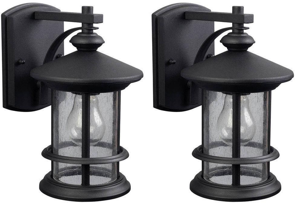 Most Current Cherryville Black Seeded Glass Outdoor Wall Lanterns Within Black Outdoor Wall Mount Porch Patio Sconce Lantern Lamp (View 20 of 20)
