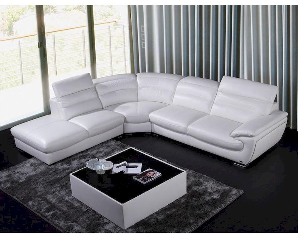Most Current Contemporary White Eco Leather Sectional Sofa 44l6050 For Sectional Sofas In White (View 1 of 20)