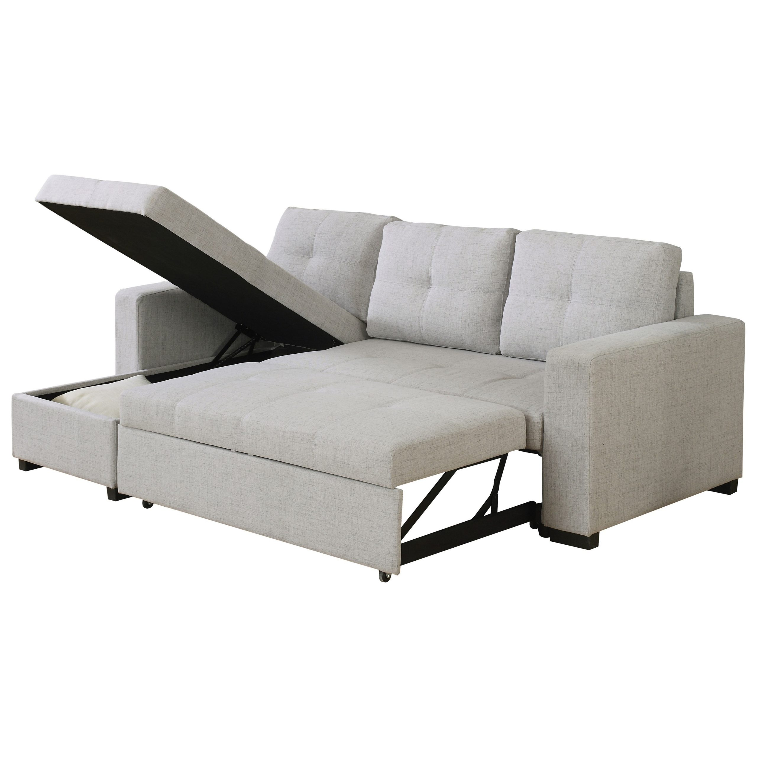 Most Current Everly Beige Reversible Sectional Sofa With Sleeper Within Copenhagen Reversible Small Space Sectional Sofas With Storage (View 16 of 20)