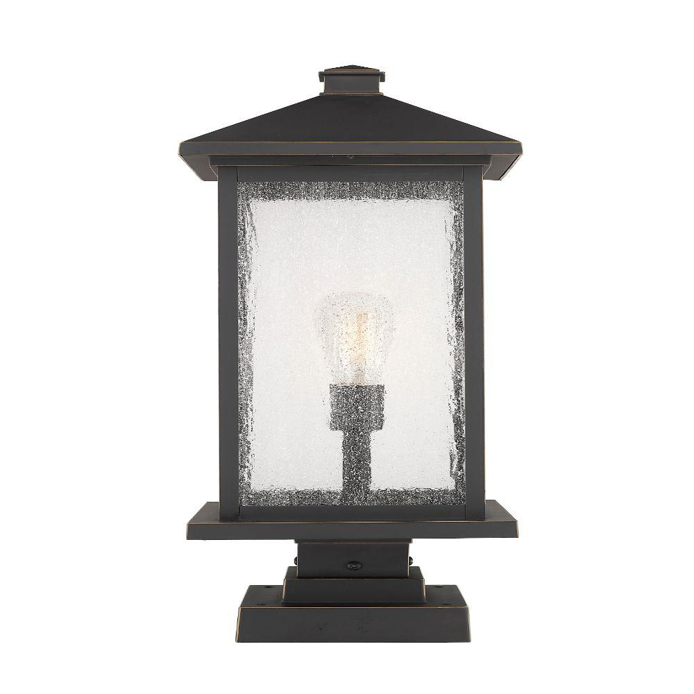 Most Current Filament Design 1 Light Oil Rubbed Bronze Outdoor Pier With Verne Oil Rubbed Bronze Beveled Glass Outdoor Wall Lanterns (View 9 of 20)
