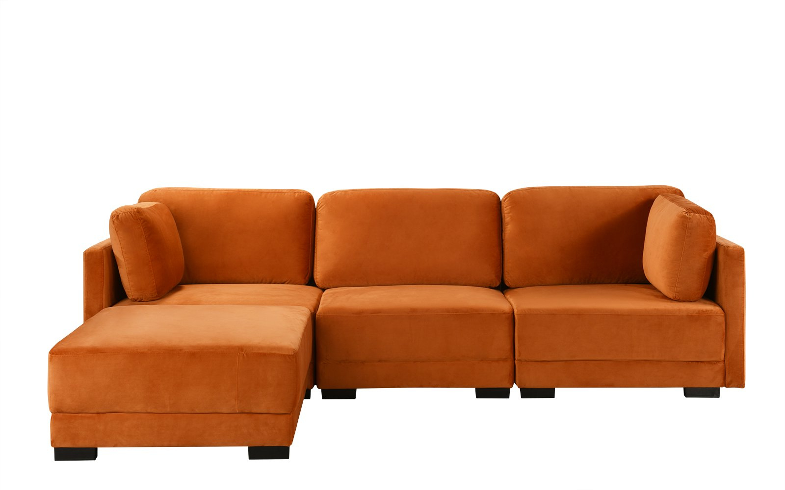 Most Current Florence Mid Century Modern Velvet Left Sectional Sofas Throughout Orange Upholstered Velvet Sectional Sofa, L Shape Modern (View 6 of 20)
