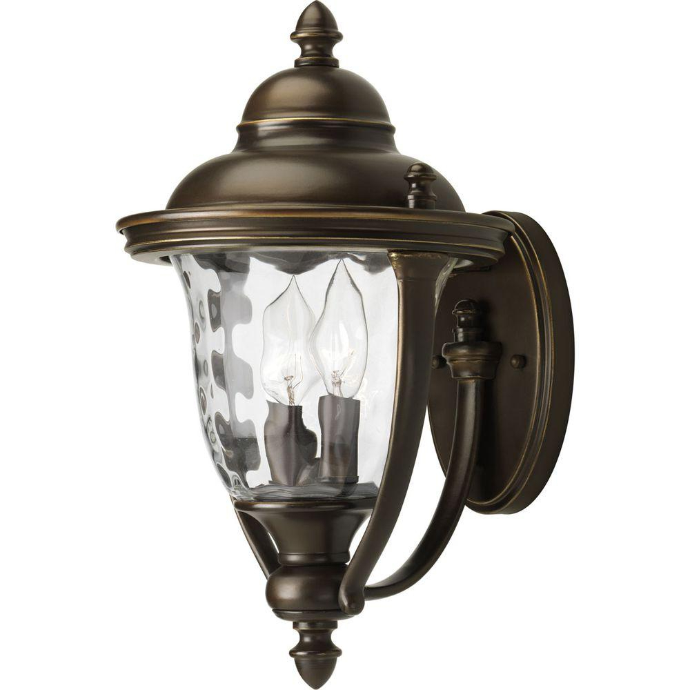 Most Current Hampton Bay Prestwick Collection 2 Light Oil Rubbed Bronze Pertaining To Cowhill Dark Bronze Wall Lanterns (View 20 of 20)