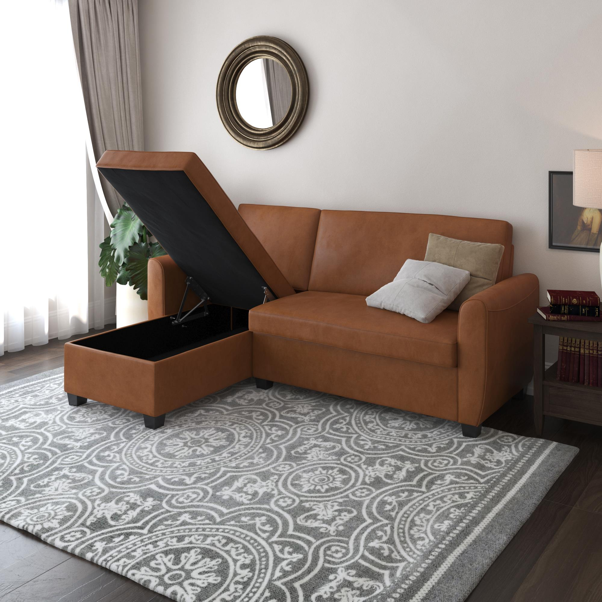 Most Current Liberty Sectional Futon Sofas With Storage For Dhp Noah Sectional Sofa Bed With Storage, Twin, Camel Faux (View 11 of 20)
