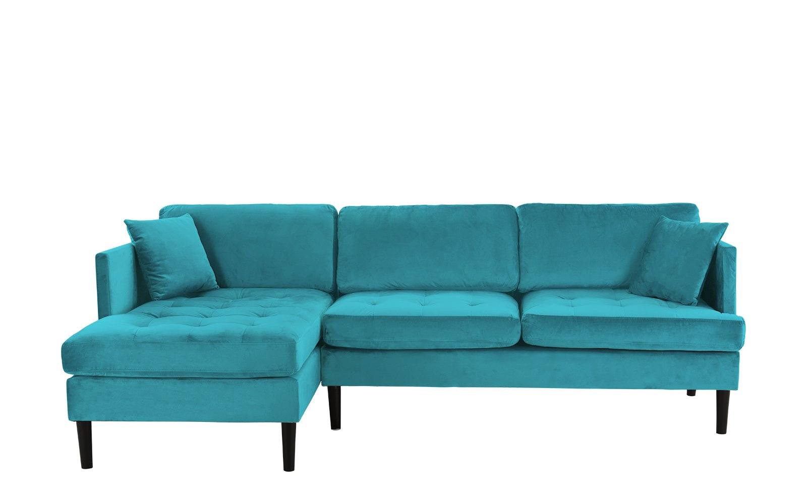 Most Current Mid Century Modern Tufted Velvet Sectional Sofa, Classic L With Regard To Dulce Mid Century Chaise Sofas Dark Blue (View 3 of 20)