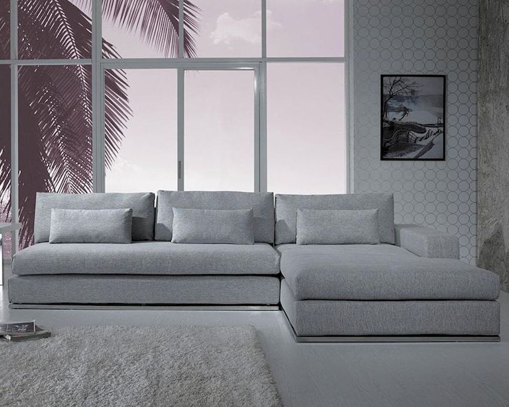 Most Current Mireille Modern And Contemporary Fabric Upholstered Sectional Sofas Regarding Modern Light Grey Fabric Sectional Sofa 44l (View 15 of 20)